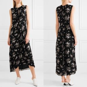 VINCE Asymmetric Tossed Floral Silk Maxi Dress